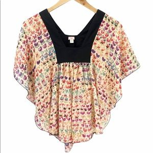 Urban Outfitters Lux Heart Print Poncho Top